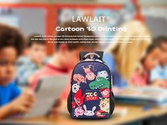 8eee7bf5d0 😍 Lawlait Cute Animal 🐮🐯🐽🐏Cartoon 3D Printing Kids School Backpacks  with