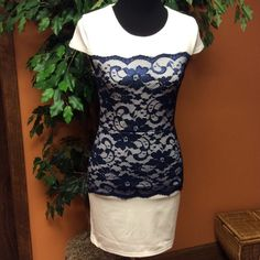 HPPRETTY BLUE AND WHITE LACE PANEL DRESS This dress has a fitted style and a beautiful blue lace panel front panel... SIZE SAYS LARGE BUT IS MORE LIKE A JUNIOR SMALL.. Dresses