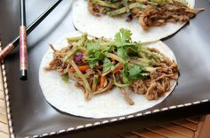 (Slow Cooker) General Tso's Slow Cooked Pork Tacos with Orange Broccoli Slaw