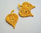 3 Crochet Leaf Appliques -- Gold Birch Leaves - CaitlinSainio