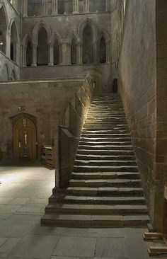 The Night Stairs in Hexham Abby, Northumberland. Originally built in 674, it was burnt to the ground by Vikings (Halfdan Ragnarsson) in 875. The current church largely dates from 1170-1250, built in the Early English style of architecture.
