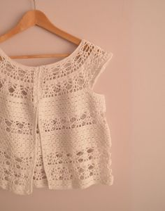 Lace Crochet Vest - White - Summer Top - Cotton