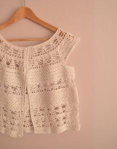Lace Crochet Vest - White - Summer Top - Cotton