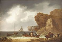 """""""The smugglers of Sennen"""". Cornish smugglers unloading their contraband on the beach while horses wait to carry it inland. Regency Romance Novels, Historical Romance, The Mermaid Inn, Romney Marsh, American Revolutionary War, Nautical Art, Regency Era, Beautiful Paintings, 18th Century"""