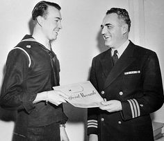 William Hitler receiving his discharge papers from the US Navy in 1947 Image Source: