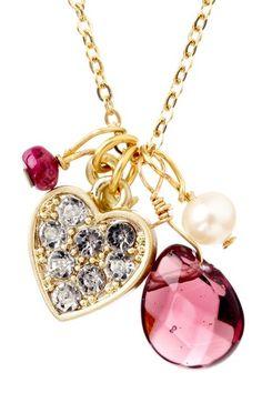 Heart & Stone Pendant Necklace.