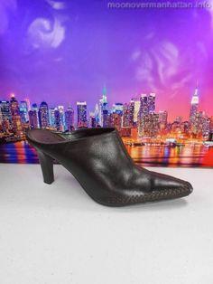 "Womens shoes APT 9 Striker brown LEATHER POINTY moc toe 3"" heel mules sz 7.5 M #Apt9 #Mules"
