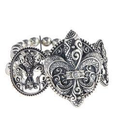 Another great find on #zulily! Antique Silver Fleur-de-Lis Stretch Bracelet #zulilyfinds