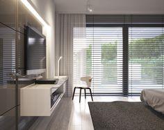Modern bedroom in private apartment, gray, minimalistic interiors