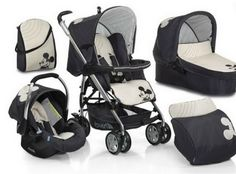 Mickey mouse stroller and carseat set