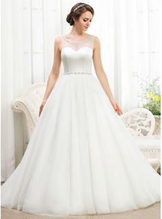 Ball-Gown Scoop Neck Court Train Satin Tulle Wedding Dress With Beading Sequins (002055919) - JJsHouse