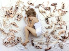 Dreaming amongst the pointe shoes.