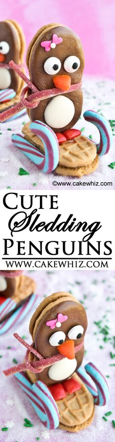 Learn how to make these stylish NUTTER BUTTER PENGUINS, sledding down a sugary sparkly slope! Fun for kids to make at Winter or Christmas parties. From cakewhiz.com {Ad}