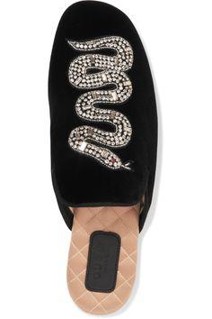 77d7c464334 Gucci - Crystal-embellished Velvet Slippers - Black - IT