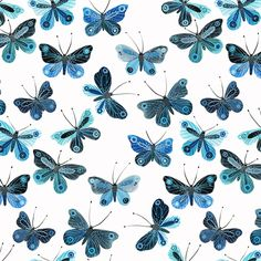 128055 Butterflies | White {voile} from Moody Blues by Geninne for Cloud9 Fabrics