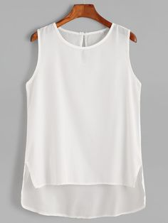 To find out about the White Keyhole Black High Low Tank Top at SHEIN, part of our latest Tank Tops & Camis ready to shop online today!O Neck Semi Transparent Chiffon Blouse SHEIN offers fashionable Tank Tops & Camis & more to meet your needs. Summer Outfits, Casual Outfits, Fashion Outfits, Sewing Blouses, Cute Tops, Blouse Designs, Casual Looks, Chiffon Tops, Blouses For Women