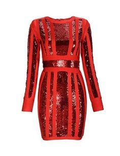 Sequined long sleeve dress in black, red and khaki for Women   Vestido de Lentejuela a la Rodilla con Manga Larga para Mujer