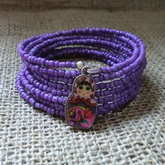 Purple Russian Doll Bracelet Beaded Memory by 78HappinessPlace, £5.00