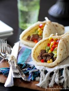 Restaurant Style Carne Asada Soft Tacos with Guacamole and Corn.  Doesn't get much better than these tacos!