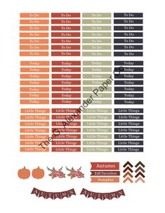 Printable Fall Autumn M/D/N Section Header Labels To Do Functional Stickers (Erin Condren Life Planners)