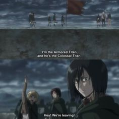 S2 Ep 6 (Ep 31): I CANT! I KEPT LAUGHING AT THIS SCENE! The way the two of them casually revealed their identities to Eren was hilarious! It's like 'Hey I'm the dude that banged your sister. Want to join us?' And THEN, Mikasa's reaction. THAT was the icing on the cake >>> *dies laughing*