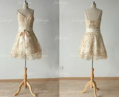 gold prom dress short prom dress homecoming dress by fitdesign, $139.00
