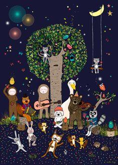 Affiche Illustration déco enfant thème Musique et Nature je l'adooore celle-ci!!