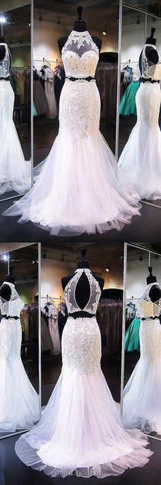 Two Piece Prom Dresses, White Prom Dresses, Long Prom Dresses 2018, Trumpet/Mermaid Prom Dresses Lace, High Neck Prom Dresses Tulle Appliques