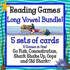 Reading Games  Long Vowel BundleSave 50% by buying the Bundle!This pack includes:54  -Long A cards  a, a_e, ai, ay, ei54  -Long E cards  e, e_e, ea, ey, ei54  -Long I cards  i, i_e, ie, y, igh54  -Long O cards  o, o_e, oa, ow, ou54  -Long U cards  u, u_e, ue, ewVarious Shark CardsOops CardsWord ListsDirections for 5 games Games included are Go Fish, Concentration, Shark Shake Up, Old Shark and Oops!Go FishThis classic game is turned into a fun, engaging game where students draw cards to…