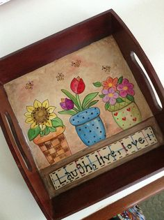 BANDEJA PINTADA.... Cute Paintings, Country Paintings, Wood Crafts, Paper Crafts, Diy Crafts, Painted Boxes, Hand Painted, Tea Tray, Pretty Box