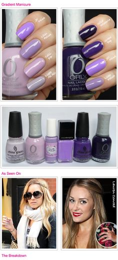 ombre nails--I have enought purples and that light Orly shade, I could probably totally do this!