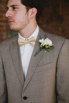 champagne bow tie // photo by Lang Photographers // View more: http://ruffledblog.com/sweet-tucson-wedding/