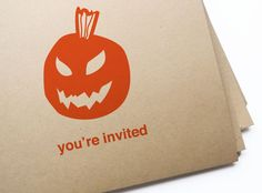 12 Jack-O-Lantern Halloween Invites// free personalization and custom colors. $13.50, via Etsy.
