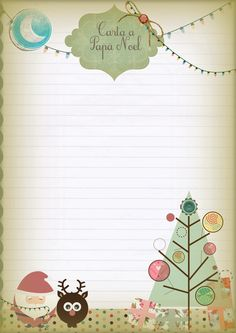 MediasNoches: Cartas de Navidad descargables! Merry Christmas And Happy New Year, Christmas Gift Tags, Christmas Love, Christmas Crafts, Xmas, Christmas Letter Template, Christmas Printables, Envelope Lettering, Writing Paper