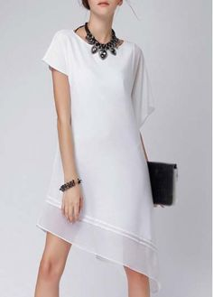 Runway Solid White Short Sleeve High Low Dress on sale only US$10.93 now, buy cheap Runway Solid White Short Sleeve High Low Dress at martofchina.com