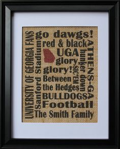 University of Georgia Fans Burlap Print , UGA Fans Subway Art Burlap Print With Family Name , Burlap Wall Art