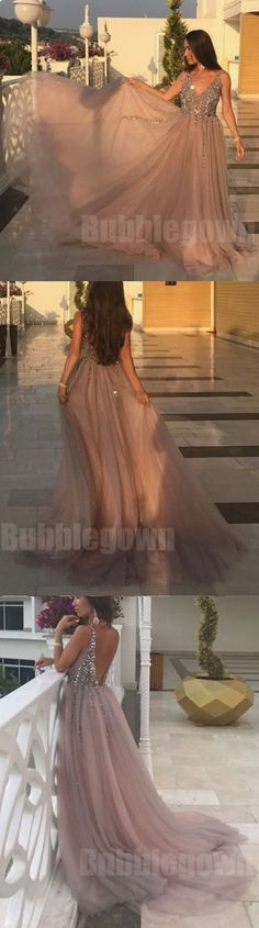 Sexy V Neck Open Back Beaded Tulle Long Evening Prom Dresses, BGP029