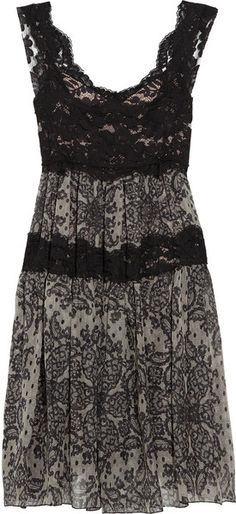 Dolce & Gabbana Sicilia Lace and Printed Silk-blend Dress