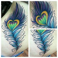 Whimsical peacock feather tattoo