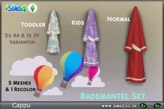Fantastic bathing robes as decor by Cappu. Details and download at the Simszoo (free registration required) Find this and a lot more at the Simszoo! Need help with registration? Have a look here! If you play Sims 3 and/or Sims 2, too, why don't you...