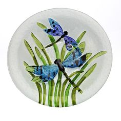 "Hand Painted all glass 13"" Bowl with Dragonflies, Slumped and Fused, all hand made"