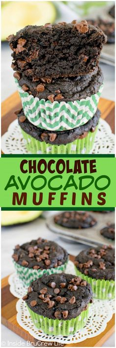 Chocolate Avocado Muffins - two times the chocolate and yogurt makes these avocado muffins so rich and fudgy! Awesome breakfast recipe!