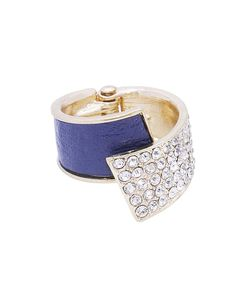 Leather + Pave Overlap Hinge Ring - ZR0038-MONTANA