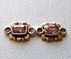2 Pink Cubic Zirconia Connector Links set in Sterling Silver  - 14x9mm -  Stunning Ethnic Style 2 Loop Gemstone Stations - Gorgeous Sparkle