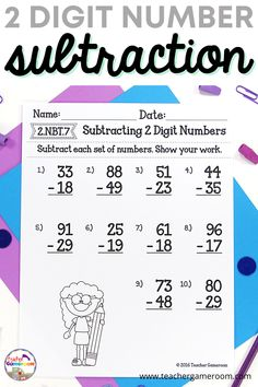 Reinforce addition skills with this 2 digit subtraction worksheet. Each worksheet has 10 questions with some questions requiring regrouping. Perfect for those higher students as it require more than one regrouping. Subtraction Worksheets, Number Worksheets, Elementary Teacher, Teacher Pay Teachers, Teacher Resources, Teaching Ideas, Little Learners, Sixth Grade, Social Studies