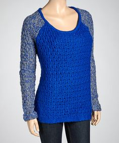 Take a look at this Royal Blue & Heather Gray Raglan Sweater by Yoki on #zulily today! $17 !!