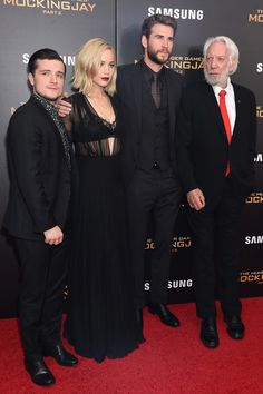 "(L-R) Josh Hutcherson, Jennifer Lawrence, Liam Hemsworth and Donald Sutherland atttend ""The Hunger Games: Mockingjay- Part 2"" New York Premiere at AMC Loews Lincoln Square 13 theater on November 18, 2015 in New York City."