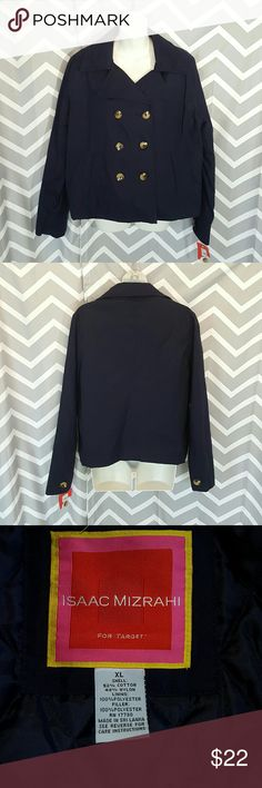 Isaac Mizrahi for target coat jacket NWT  never worn, pea coat style, double breasted, quilted lining. Has 2 pockets, buttons on the sleeves. There's a spot on the lining of the right sleeve, that might look like it's been restitched. It hasn't, that's just how it is... just pointing that out because some people don't know that most blazers/jackets/coats come like that.  Armpit to Armpit 20 Color is Navy. Shoulder to shoulder 17 Waist 22.5 Length 24.5 Sleeve 25 Isaac Mizrahi for target…