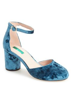 Jagga Ankle Strap Pump in Blue Velvet by Topshop // Plush velvet and a slender ankle strap provide a sophisticated update to a round-toe pump lifted by a wrapped cylindrical heel.