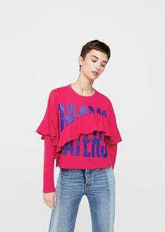 Ruffled message sweatshirt - Women   MANGO USA